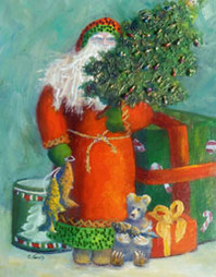 Chrsitmas painting of santa with toys and tree