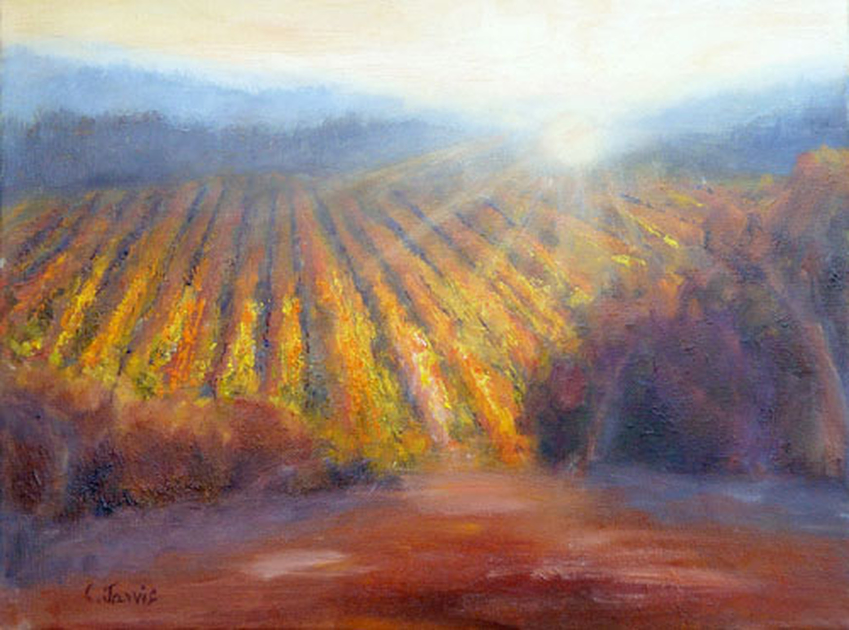 Winery Light - landscape oil painting