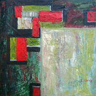 Abstract painting, contemporary, textured by CA artist Carolyn Jarvis - Rectangles modern art abstract