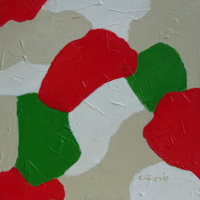 abstract red and green acrylic painting