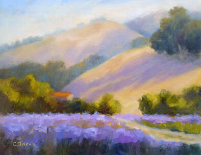 lavender landscape oil painting by Carolyn Jarvis