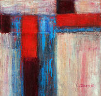 Abstract red and turquoise oil painting by Carolyn Jarvis