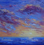 Ocean sunset oil painting by Carolyn Jarvis