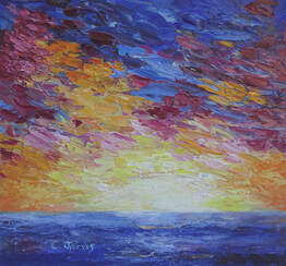sunset and ocean painting by Carolyn Jarvis